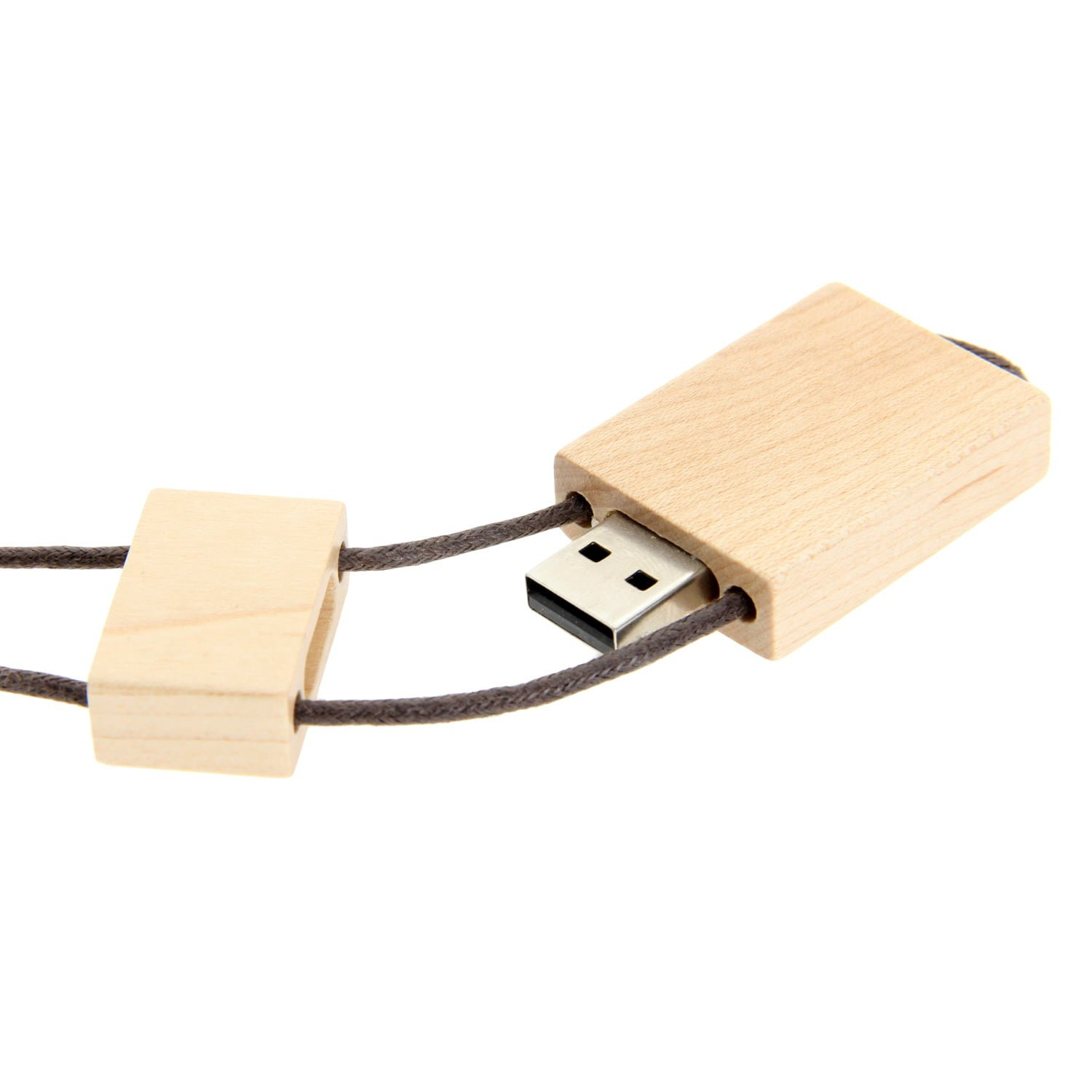 W005 Wooden USB Flash Drive with String